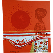Hand Signed Artist's Proof French Modernist Frédéric Menguy Orange-Red Sun with Feminine Silhouette Waves and Circles