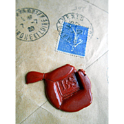 1930 Envelope with Six Wax Seals Sent by French Bank in Nice