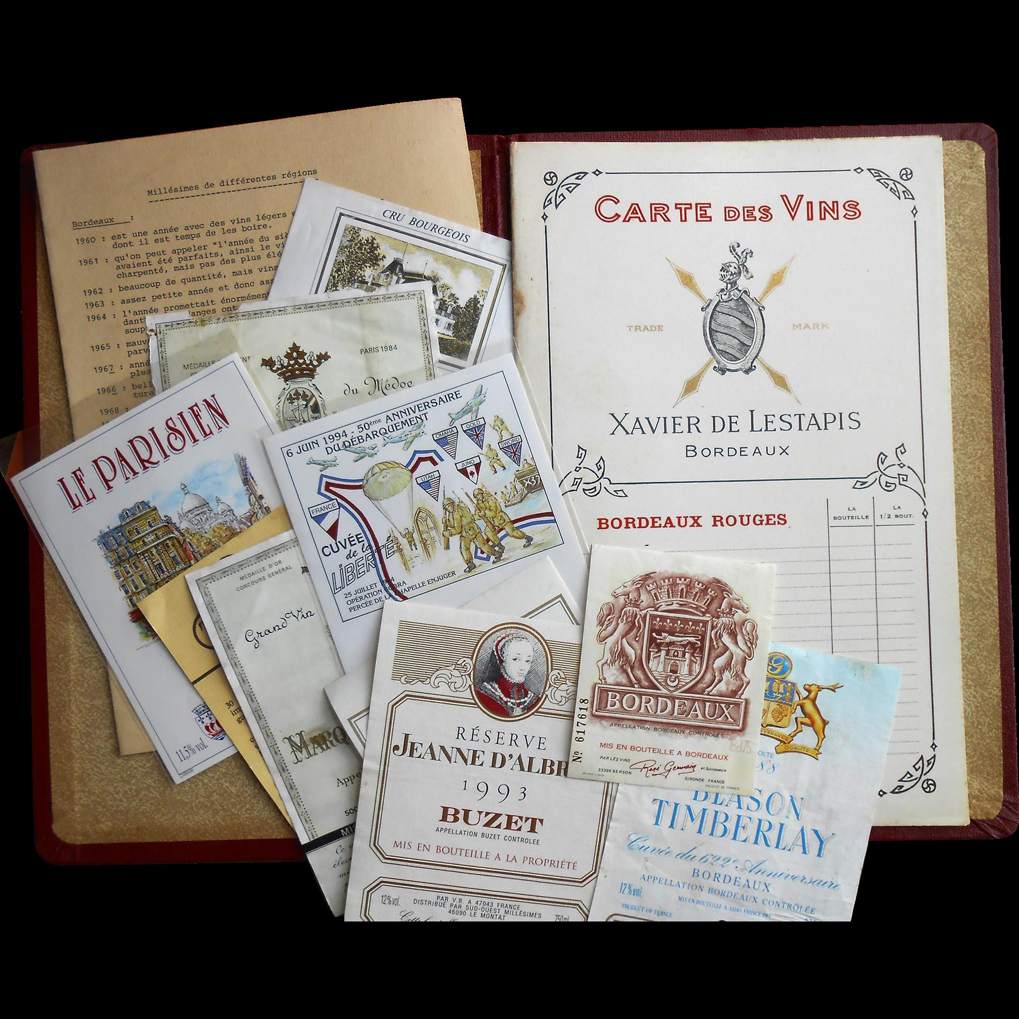 Unused Bordeaux Xavier de Lestapis Wine Menu with French Wine List and Vintage Labels