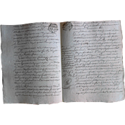1786 General Seal Contract Document Notarized from Amiens, France