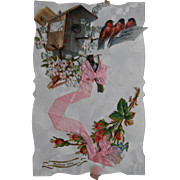 1908 French Postcard Made from Victorian Die-Cuts and Ribbon with Petite  Hidden Cellophane Message