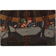 Margret Boriss 1932 Art Deco Postcard of Children in Airplane Carnival Ride