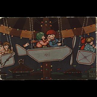 Margret Boriss 1932 Art Deco Postcard of Children in Airplane Carnival Ride