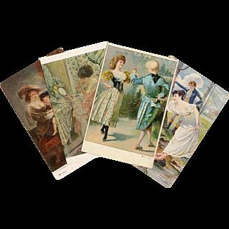 Four Antique Art Reproduction Postcards Rubens, Salon de Paris c. 1905