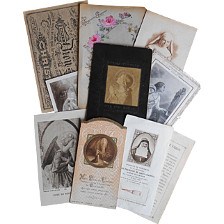 Collection of 10 French Religious Postcards Holy Cards Fabric Relic Canivet Embossed Hand Painted