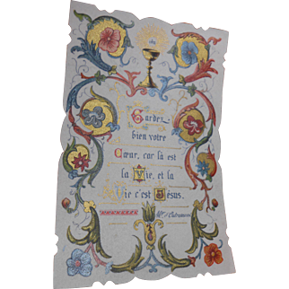 1895 French Holy Card Illuminated Script with Metallic Gold Pigment