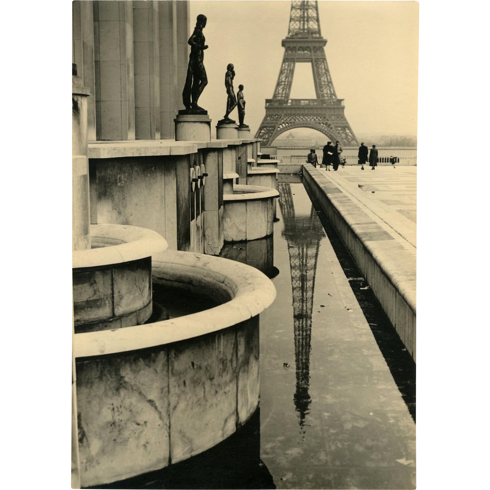 Retro c1950s Photograph of the Eiffel Tower Paris by Jean Arty