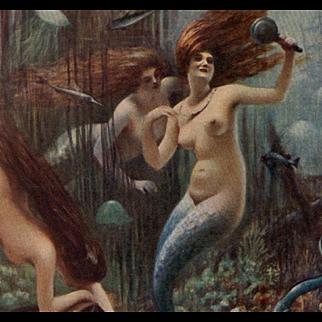 Parisian Artist Albert Guillaume Mermaids Salon de 1913 Antique French Lithograph Postcard