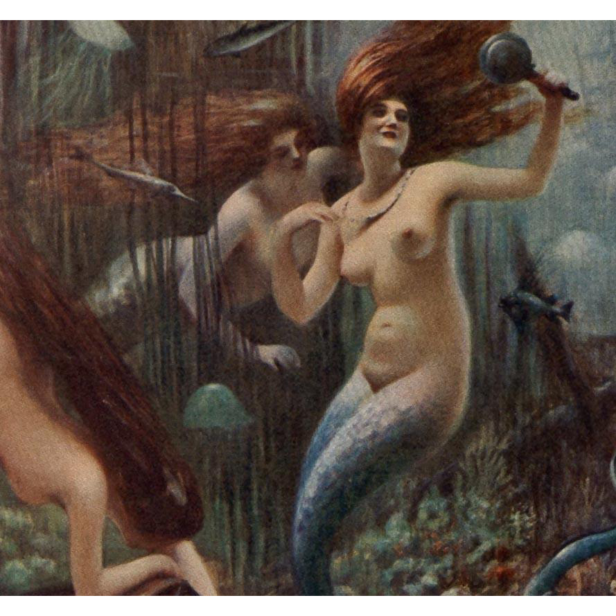 Parisian Artist Albert Guillaume Mermaids Salon de 1913 Antique French Lithograph Postcard