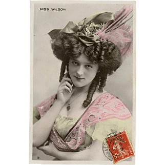 Belle Epoque Stage Star Miss Wilson Real Photo Antique French Postcard