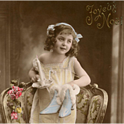 Antique French Joyeux Noel Christmas Postcard Edwardian Girl with Fur-Trimmed Blue Heels