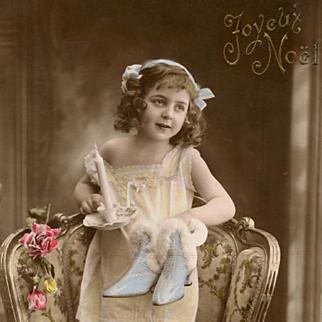 Antique French Joyeux Noel Christmas Postcard Edwardian Girl with Fur-Trimmed Blue Heels