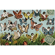 Fantasy Collage of Multiple Babies on Butterflies Antique French German Postcard