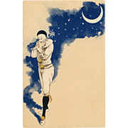 Pierrot Contemplating Under Crescent Moon Night Sky and Stars Antique French Carte Postale c 1903