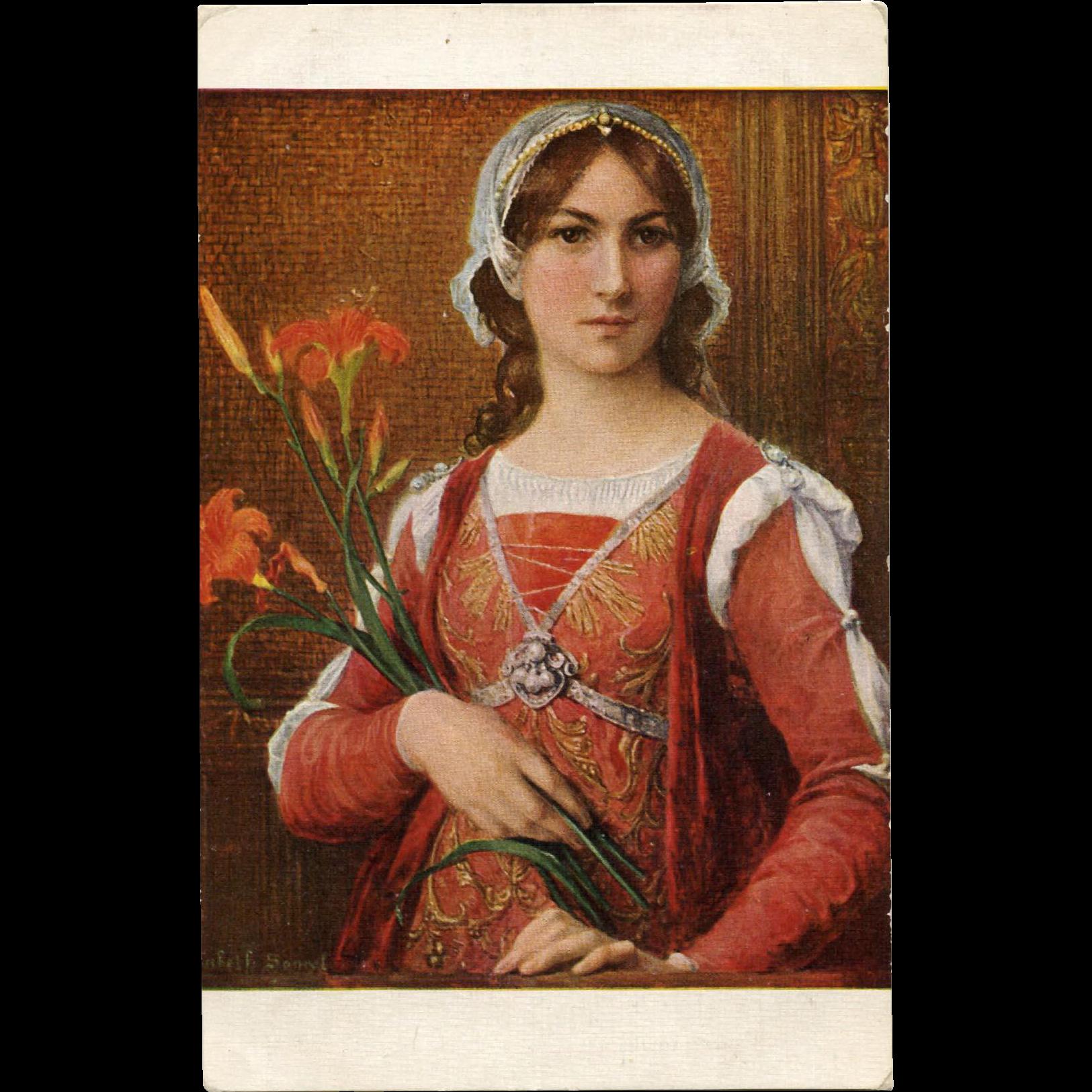 Elisabeth Sonrel Salon de Paris Florentine Princess Antique French Postcard