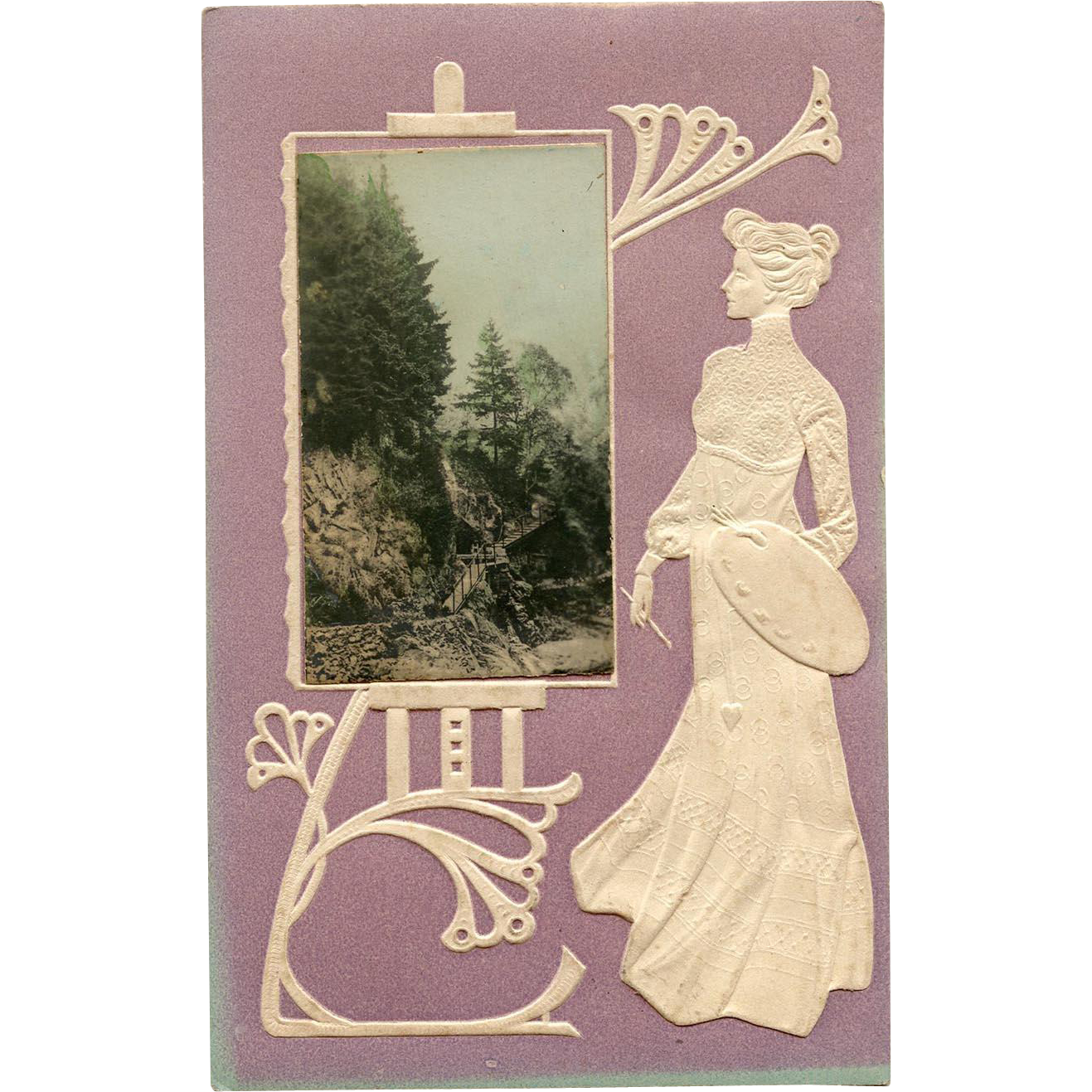 Art Nouveau Embossed Postcard of Artist with Palette Looking at Scenery Painting on Huge Easel