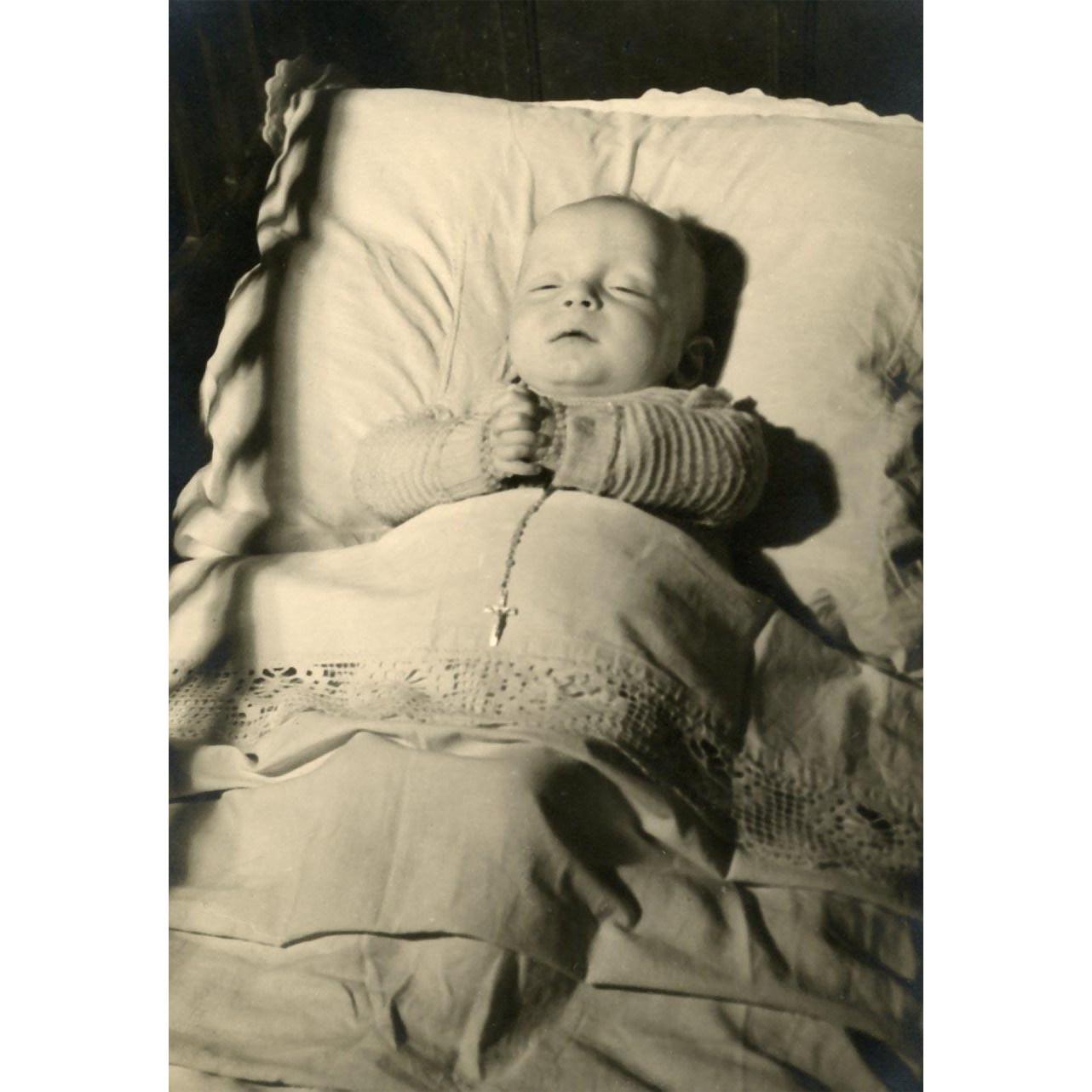 Post-mortem Photograph Baby with Eyes Slightly Open, Entwined Fingers and Rosary, Memorial Portraiture Mourning Portrait