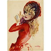"1950s French Fashion Beauty in Red ""Parisienne"" Postcard by Vincente Cristellys"
