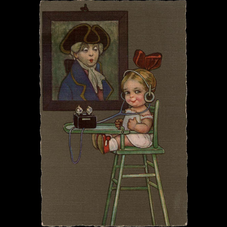 Humorous Italian Postcard Child Listening to Radio