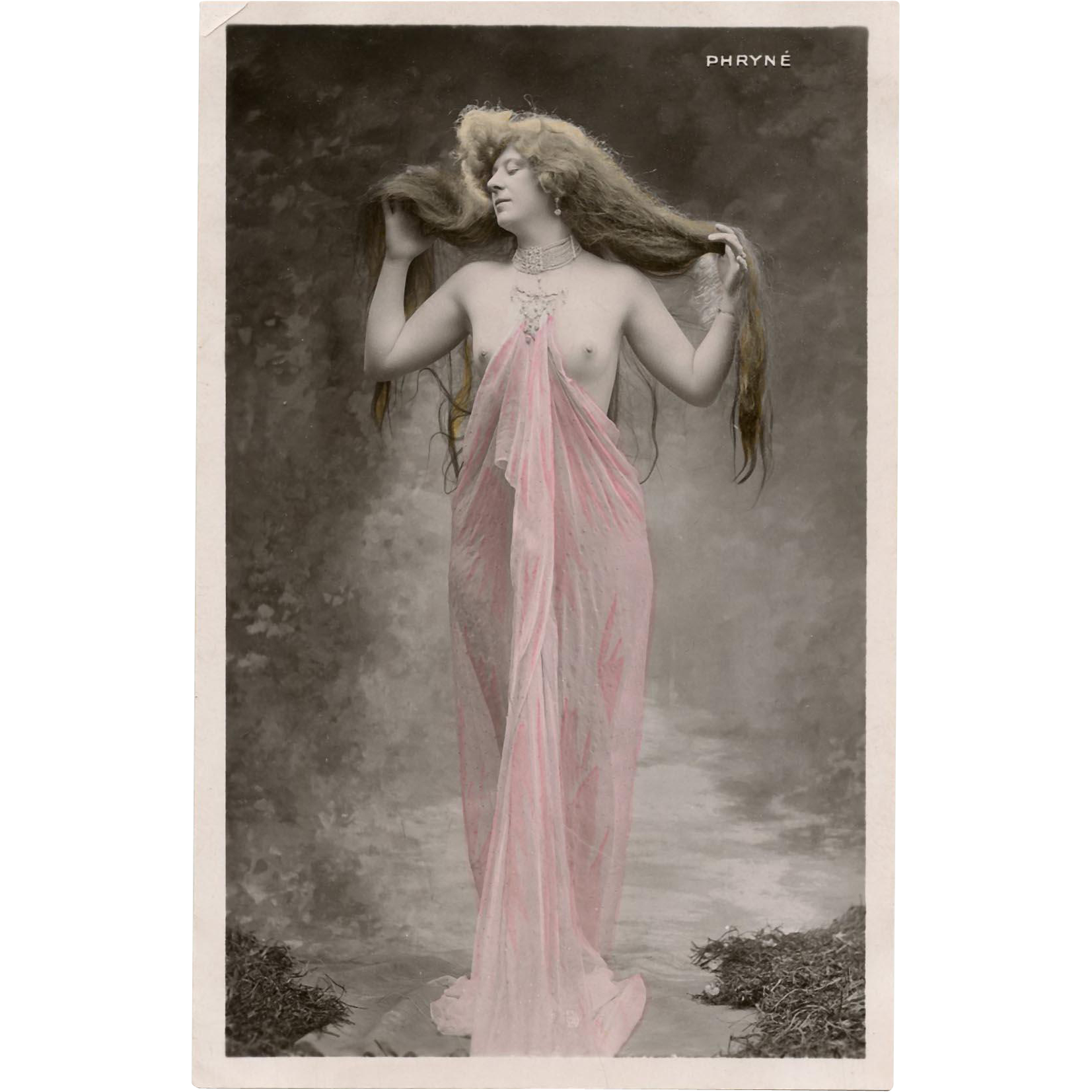 French Nude Real Photo Postcard Phryne Early 1900s Belle Epoque Beauty in Pink