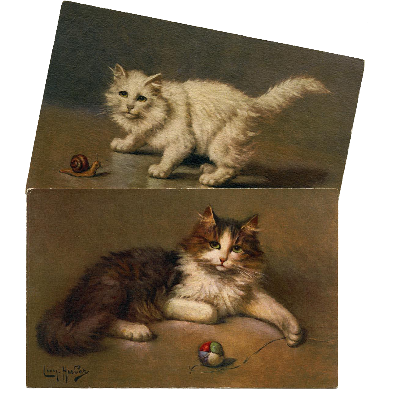 Two Artist Signed Cat Postcards by French Painter Leon Huber