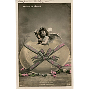 Easter Egg Angel French Postcard Franked 1906