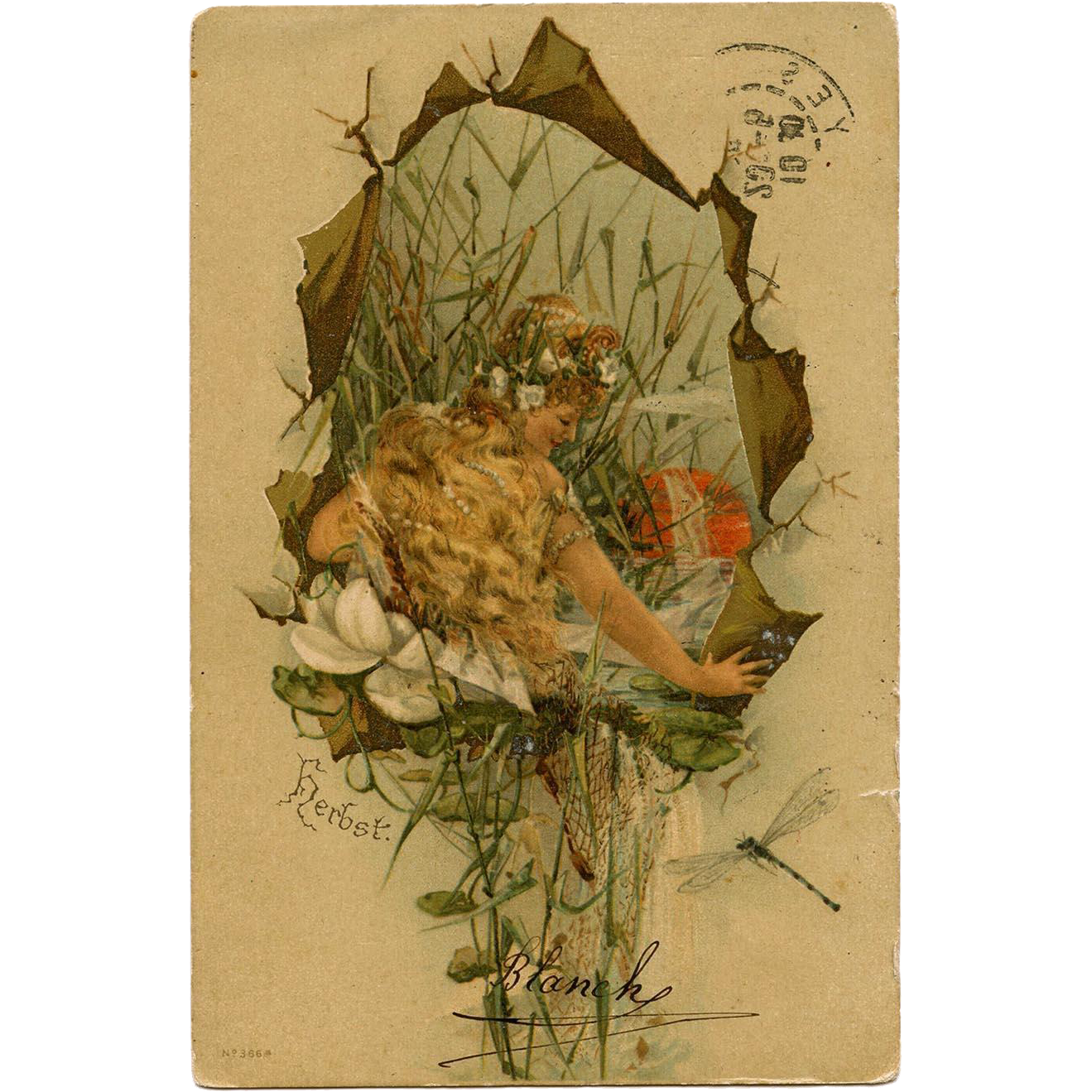 Autumn Water Nymph with Golden Hair Setting Sun Dragonfly German Postcard Mailed to Paris in 1905