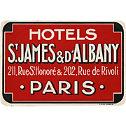 Bold Deep Red Paris Hotel Luggage Label Original Vintage St James Rue de Rivoli