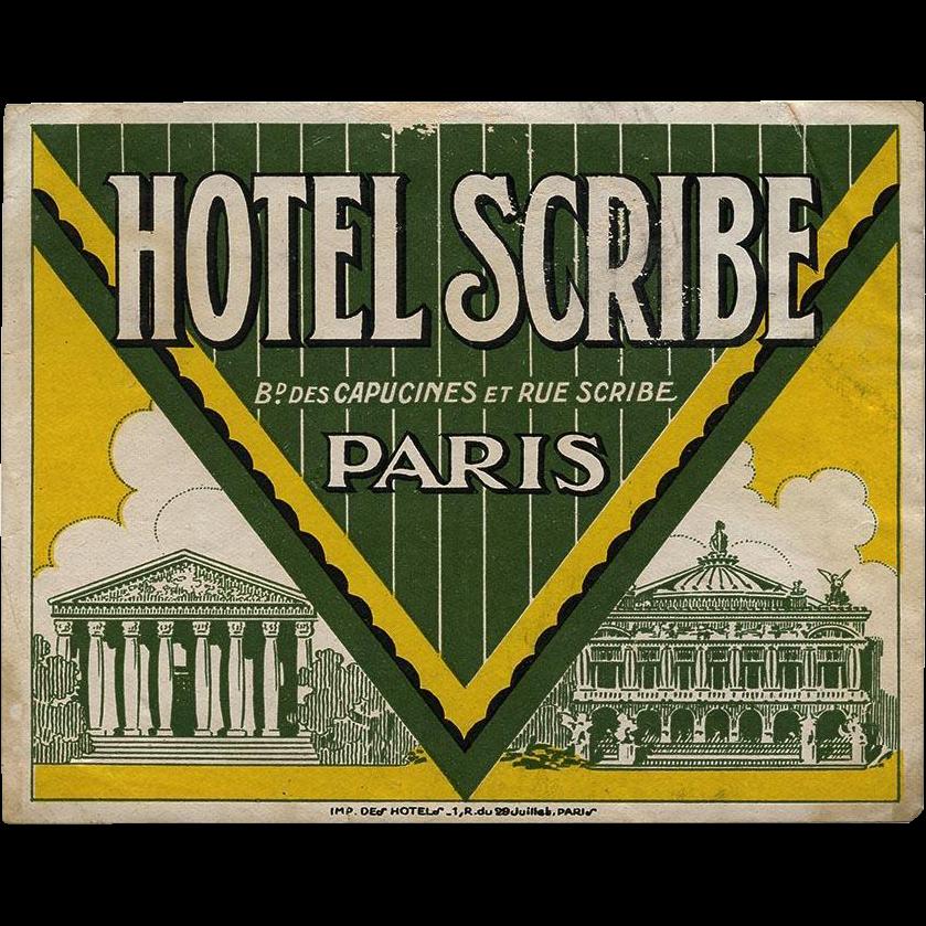 Hotel Scribe of Paris Luggage Label Original Vintage