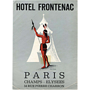 Native American in Front of Tepee Paris Hotel Frontenac Luggage Label Original French Artist Jean Colin c 1940s