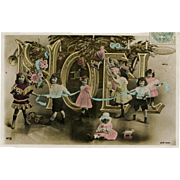 1906 Postcard French Noel Photomontage Edwardian Children and Christmas Toys