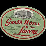 Paris Grand Hotel du Louvre Large Oval Luggage Label Original Vintage
