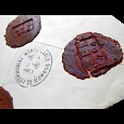 1957 Envelope Marseille to Monaco Franking with Five Wax Seals