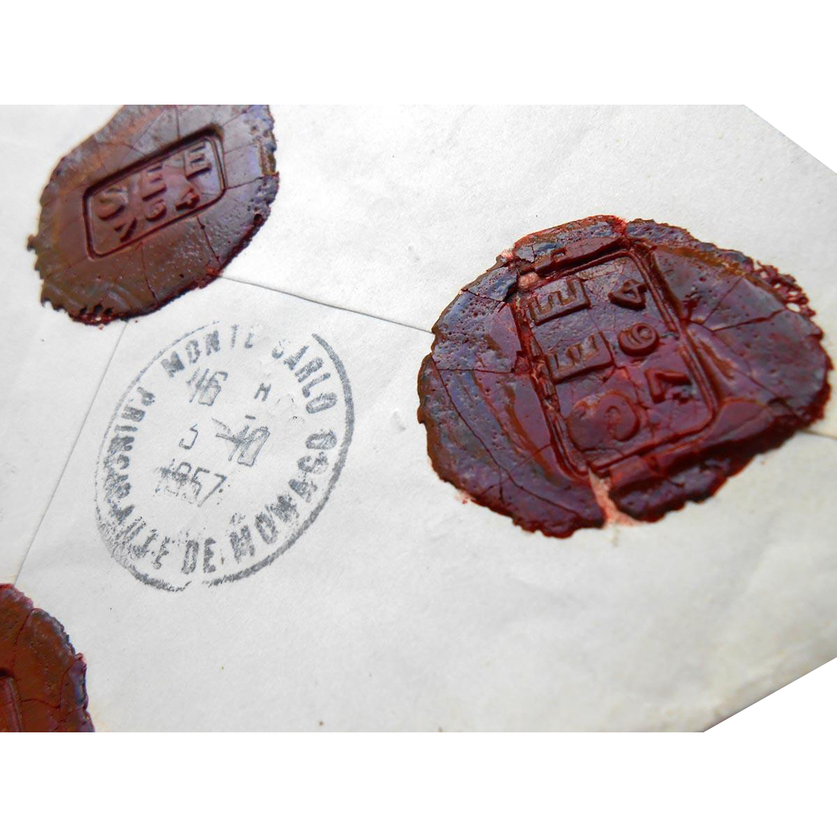 1957 Envelope Marseille to Monaco Franking with Five Wax Seals