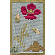 Antique Silk Embossed Flower with Anniversaire Sticker Franked 1907