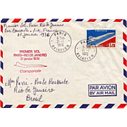 1976 First Flight Paris to Rio de Janeiro on the Concorde  Philately French Hotel Chain Envelope