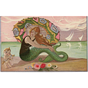 Art Deco Mermaid and Cupid Postcard Artist Signed Sofia Chiostri Unused Mint Condition