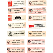 14 Original Retro French Jukebox Song Labels Circa 1970-1980s