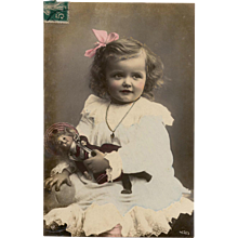 Girl with Doll French Postcard 1904 Real Photo German NPG Oranotype