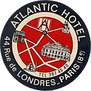 Atlantic Hôtel Paris France French Luggage Label Original Vintage