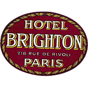 Hotel Brighton Rue de Rivoli  Original Vintage Huge Oval Luggage Label