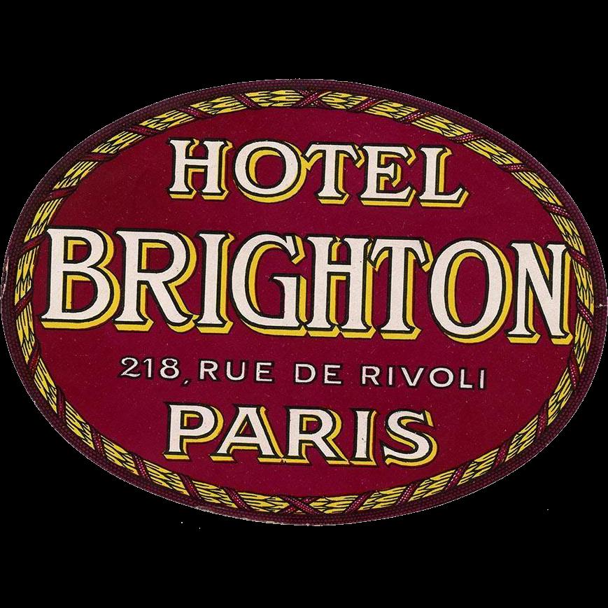Hotel Brighton Rue de Rivoli  Original Vintage Huge Oval Luggage Label