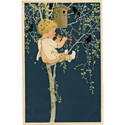 Marie Flatscher Child in Tree Playing Flute for Birds M.M. Vienne Postcard