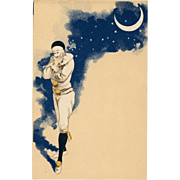 Pierrot Contemplating Under Crescent Moon Night Sky and Stars Antique French Carte Postale c1903