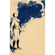 Pierrot Under Crescent Moon Night Sky and Stars Antique French Carte Postale c1903