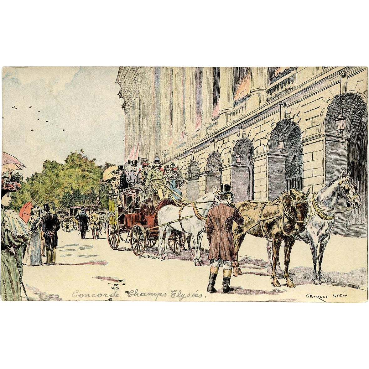 Rare Georges Stein Antique Postcard 1897 Paris Champs-Élysées Possibly Hand Made