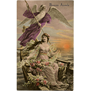 Angel on Boat with Lady French Happy New Year Postcard Noyer of Paris