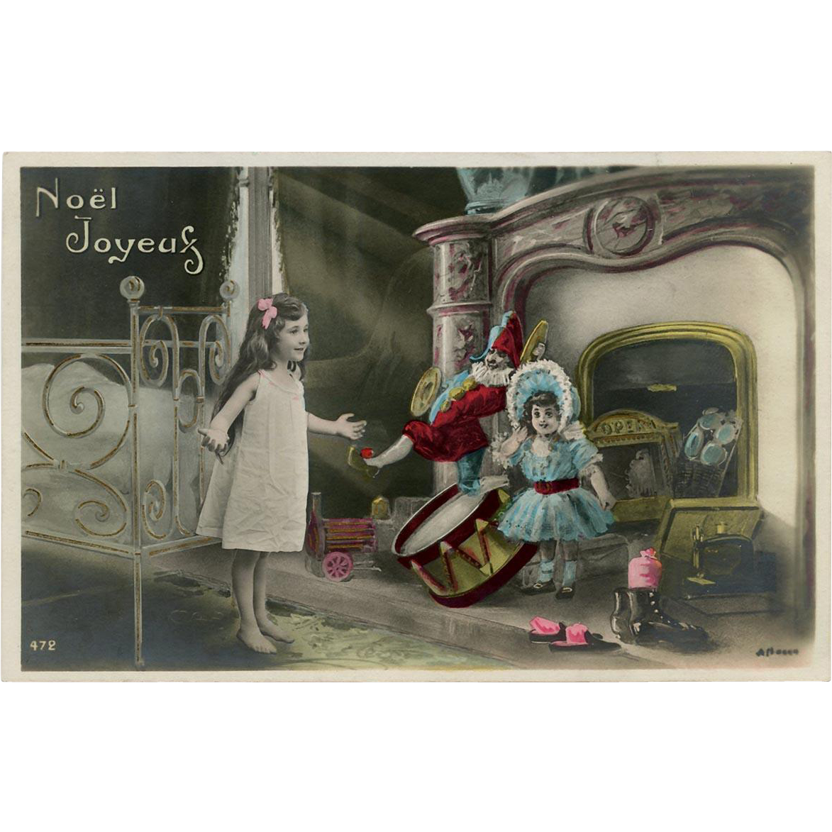 Antique French Christmas Photomontage Postcard Hand Gilded Toys Stacked in Front of the Fireplace