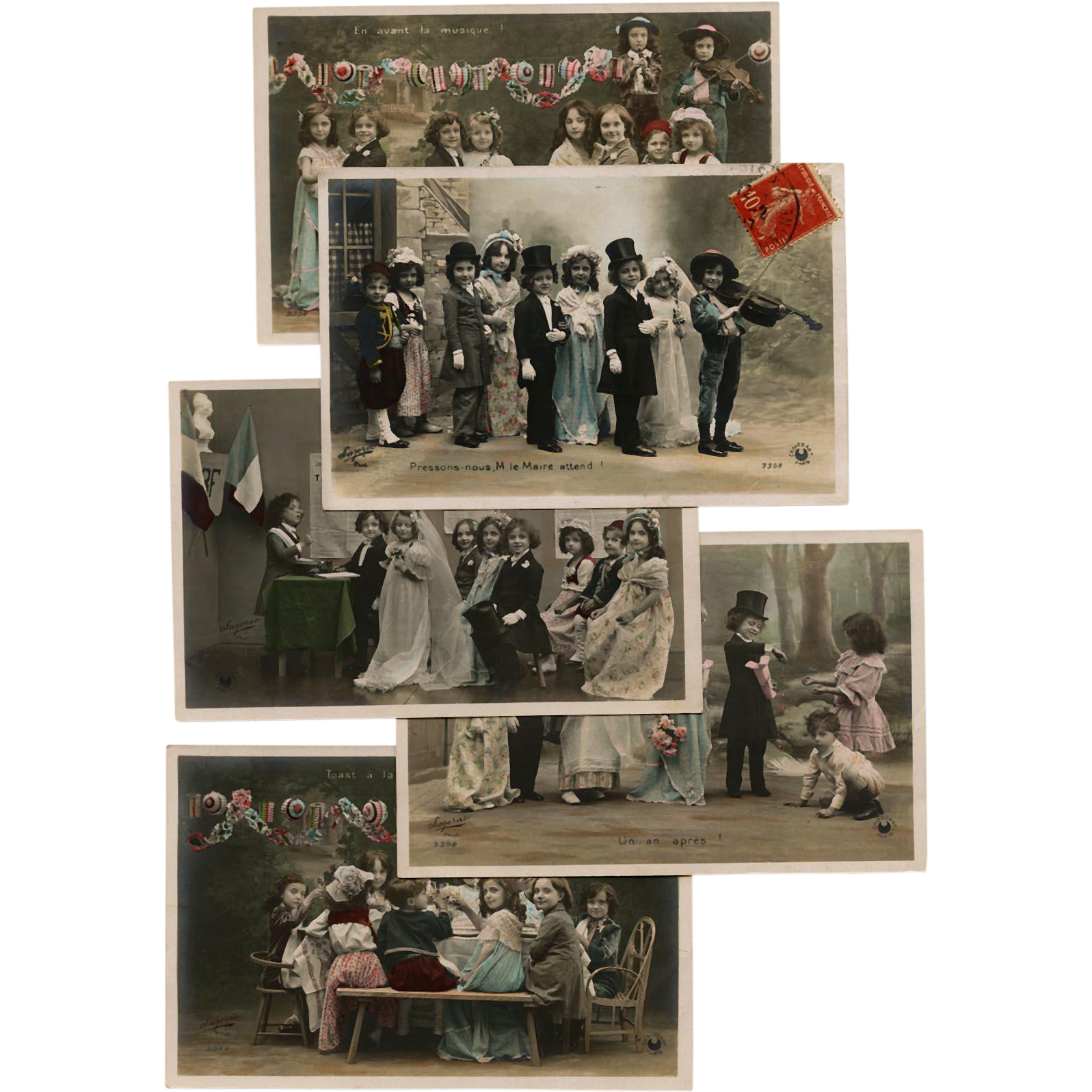 Edwardian Children as Grown Up Wedding Party Series of 5 Antique French Postcards Real Photos Hand Painted