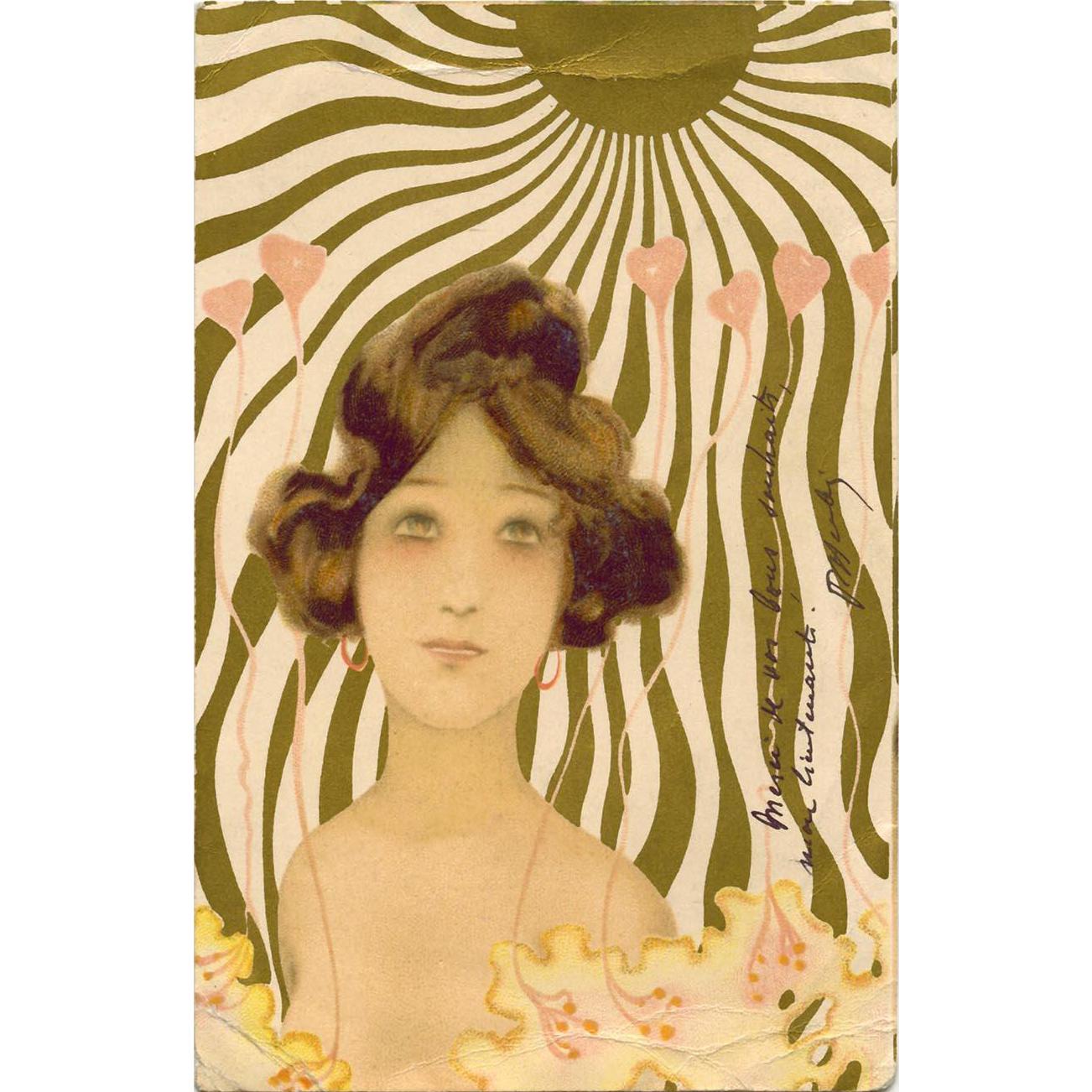 Raphael Kirchner Art Nouveau Postcard Femmes Soleil Series Mailed 1902